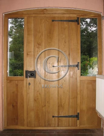 ED1 Sidelights oak door reverse
