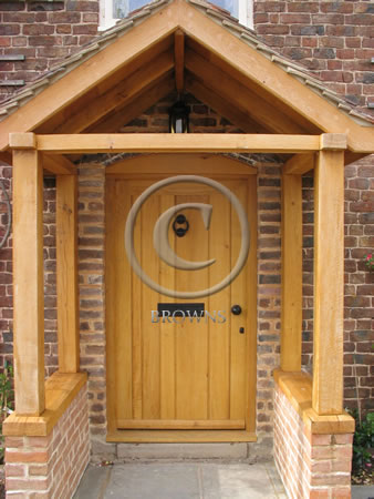Ironmongery set on an external oak door