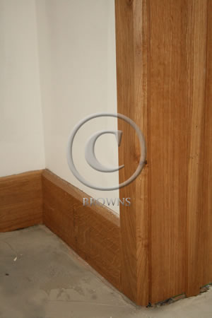 Chamfer oak skirting and architrave