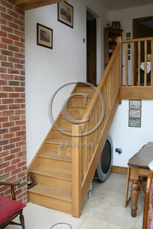 Simple straight oak stairs