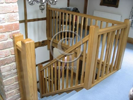 Oak hand rail and spindles
